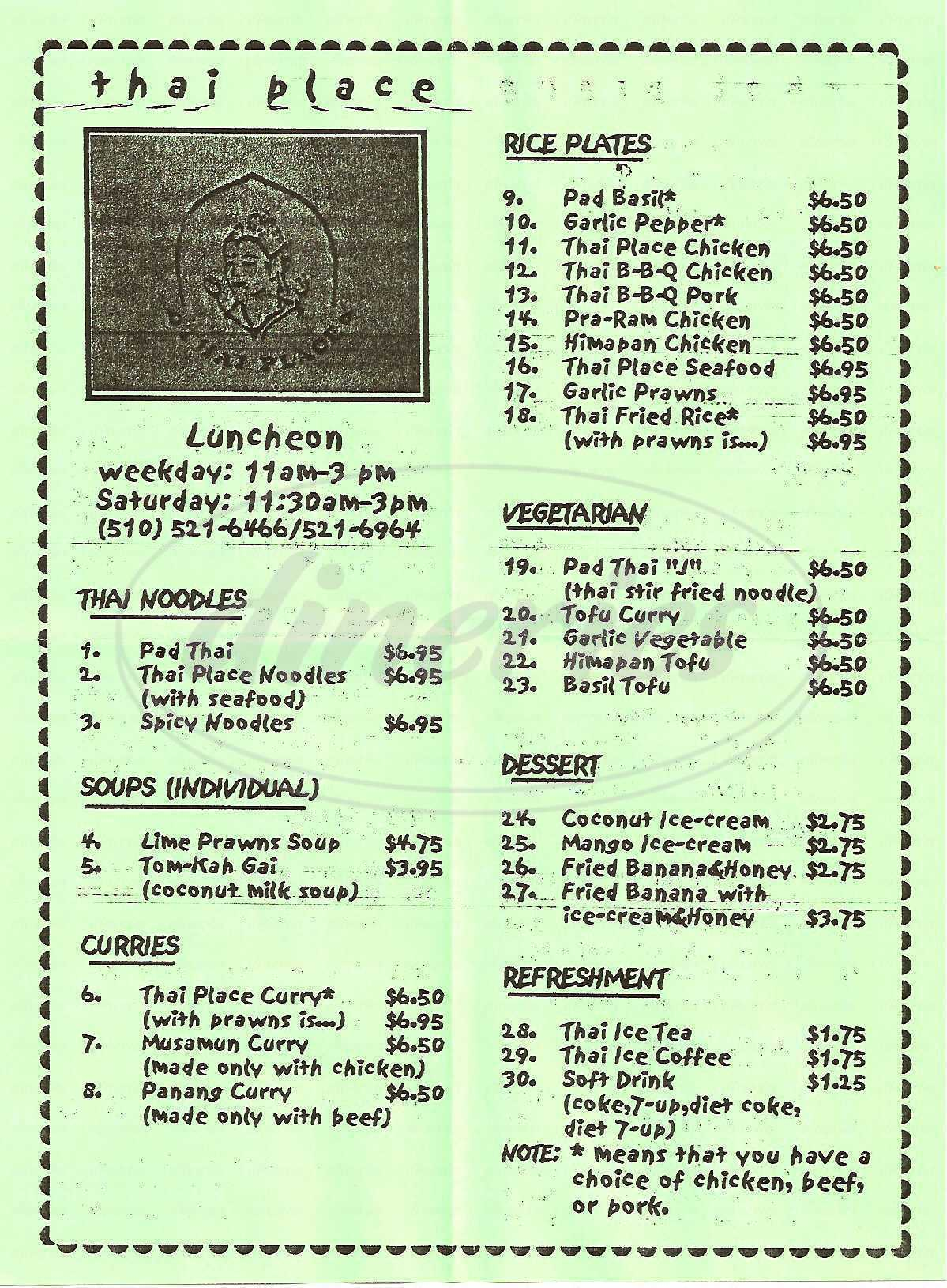 menu for Thai Place