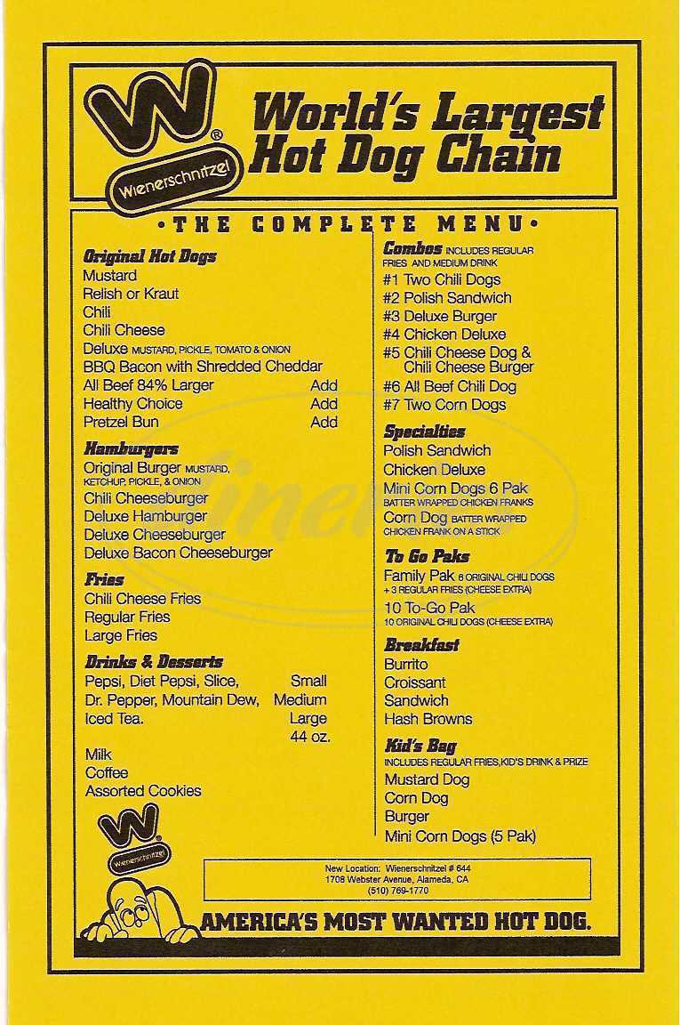menu for Wienerschnitzel