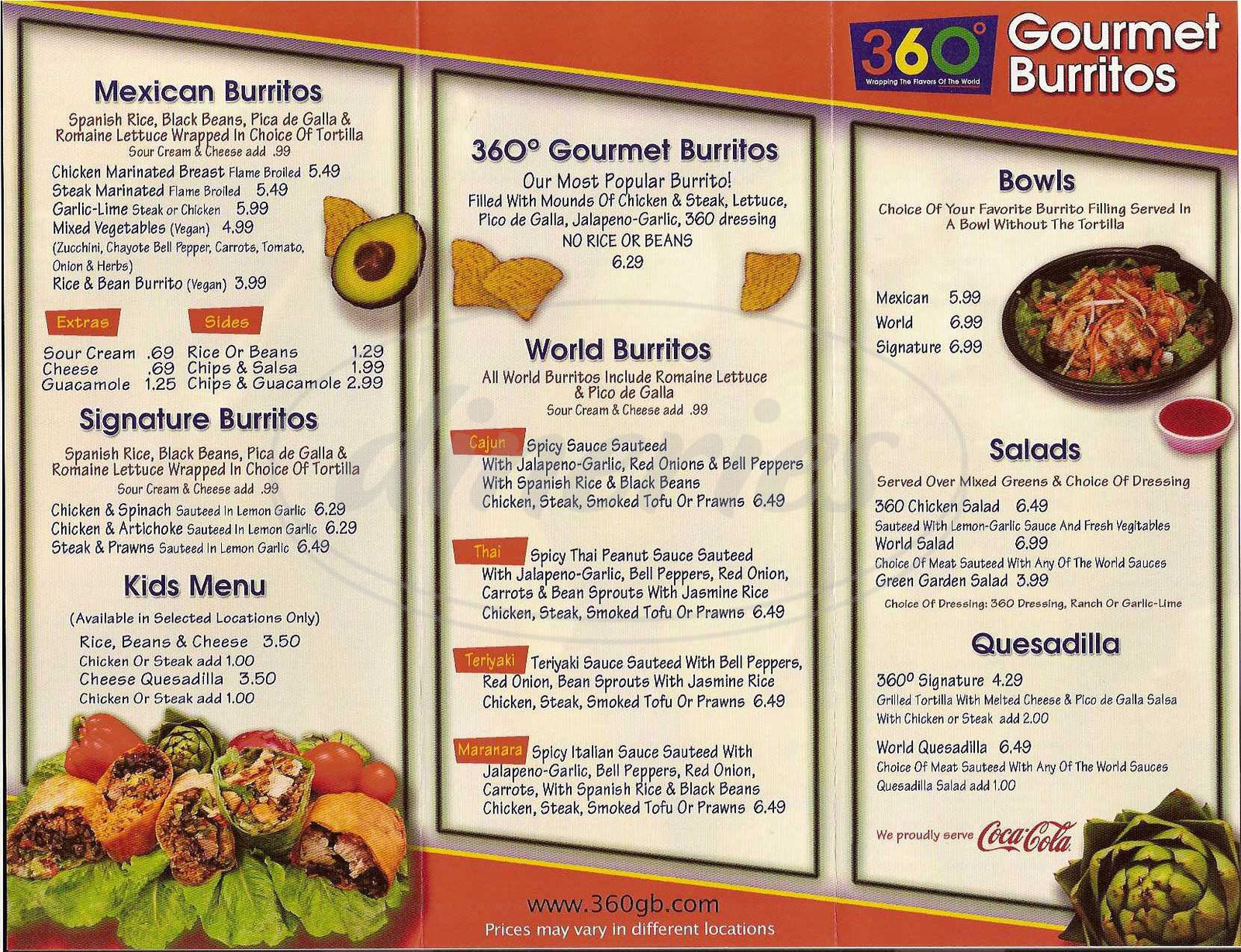 menu for 360 Degree Gourmet Burritos