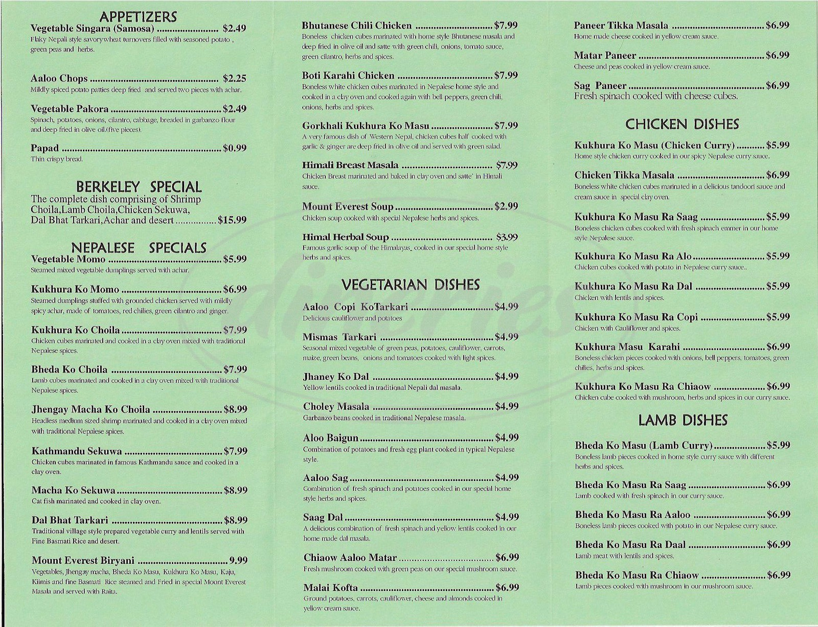 menu for Mount Everest