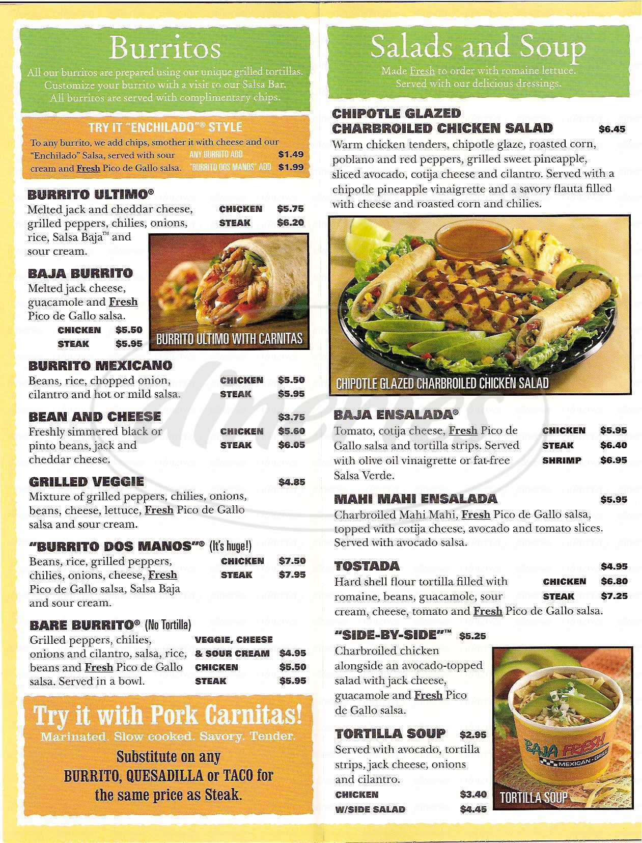 Big menu for Baja Fresh Mexican Grill, Los Angeles