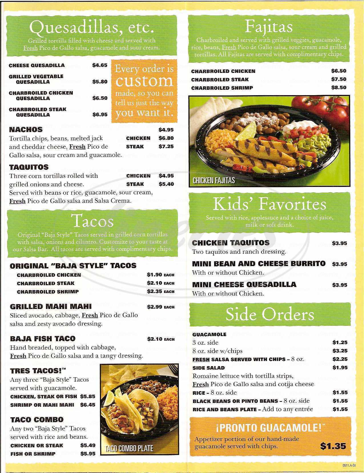 menu for Baja Fresh Mexican Grill