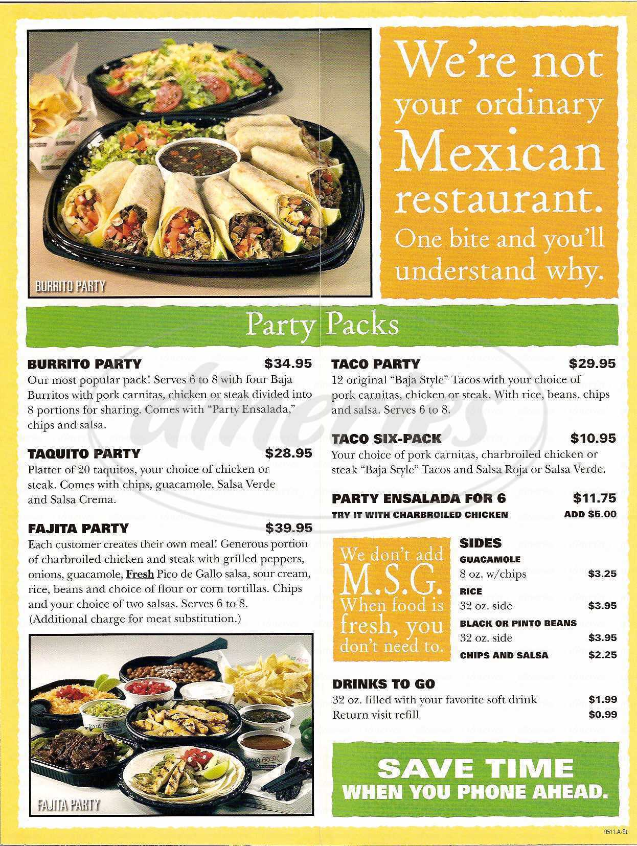 menu for Baja Fresh Mexican Grill