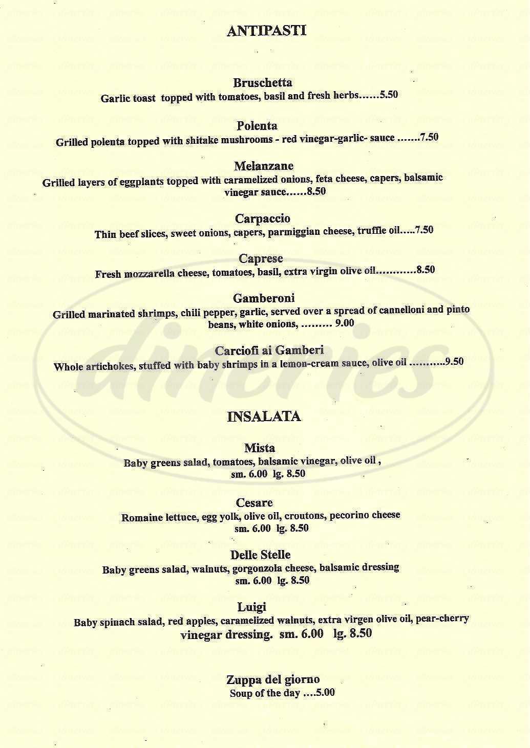 menu for Caffé Delle Stelle
