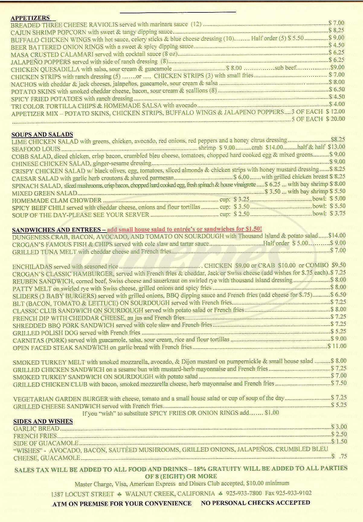 menu for Crogan's Bar & Grill
