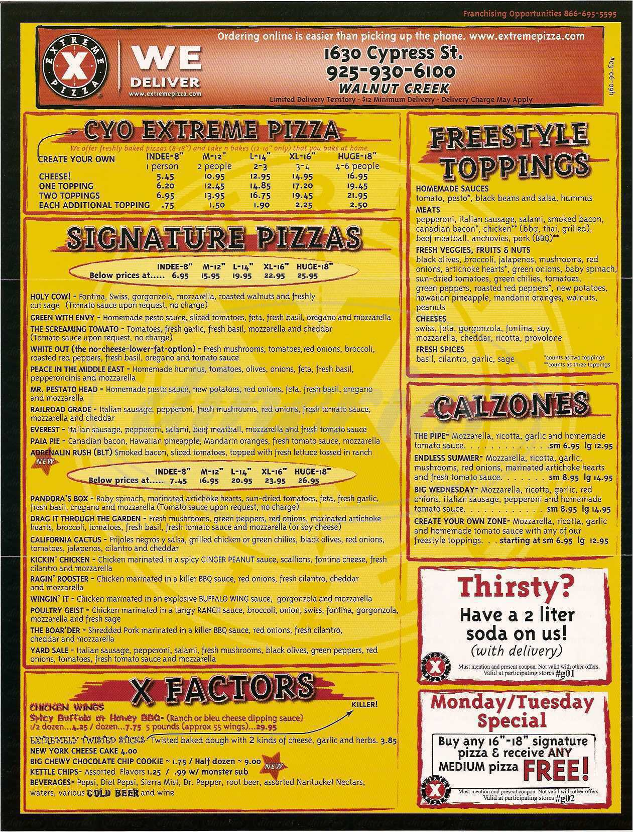 menu for Extreme Pizza