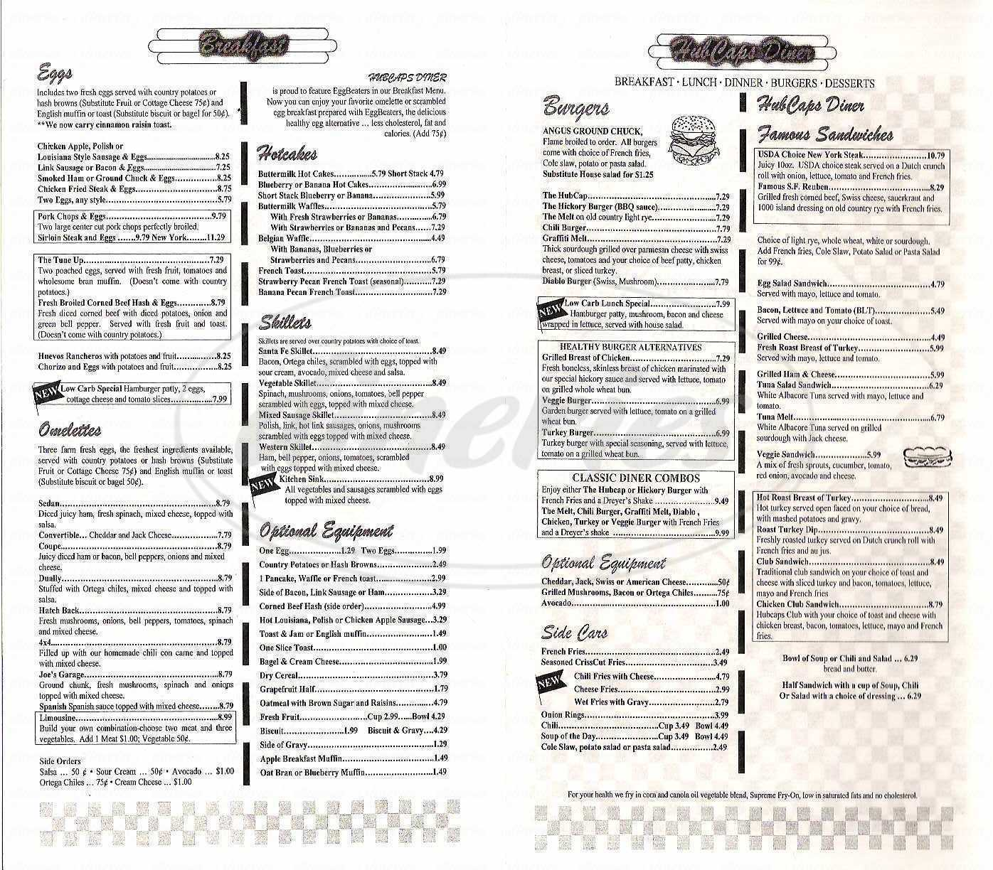 menu for Hubcaps