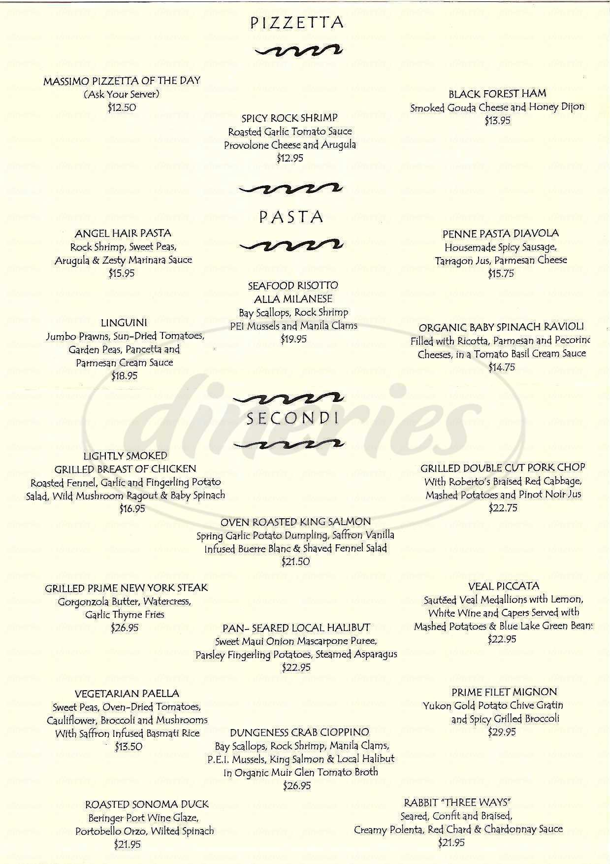 menu for Massimo Ristorante