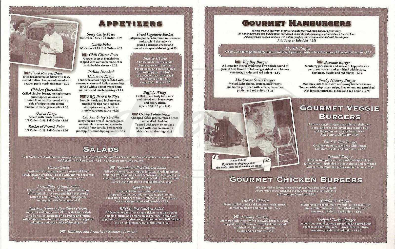 menu for San Francisco Creamery Company