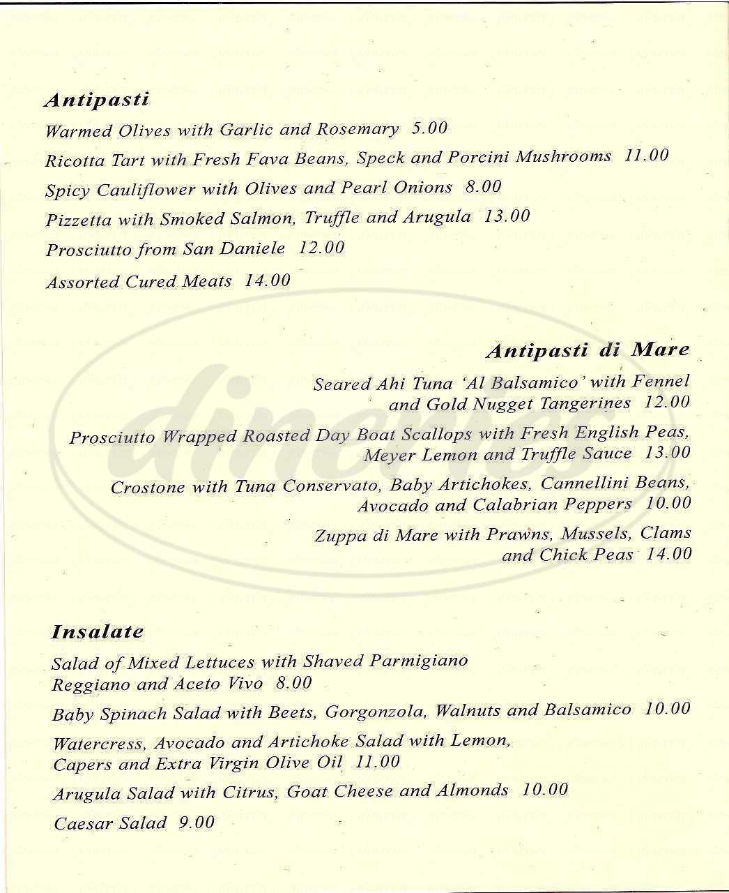 menu for Prima Ristorante