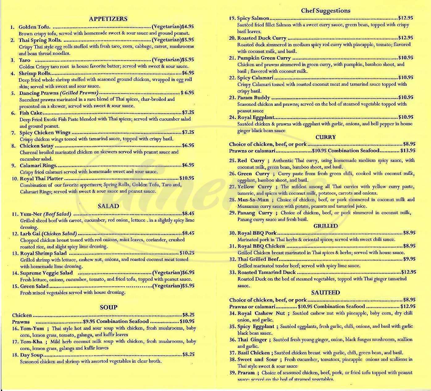 menu for Royal Thai Palace