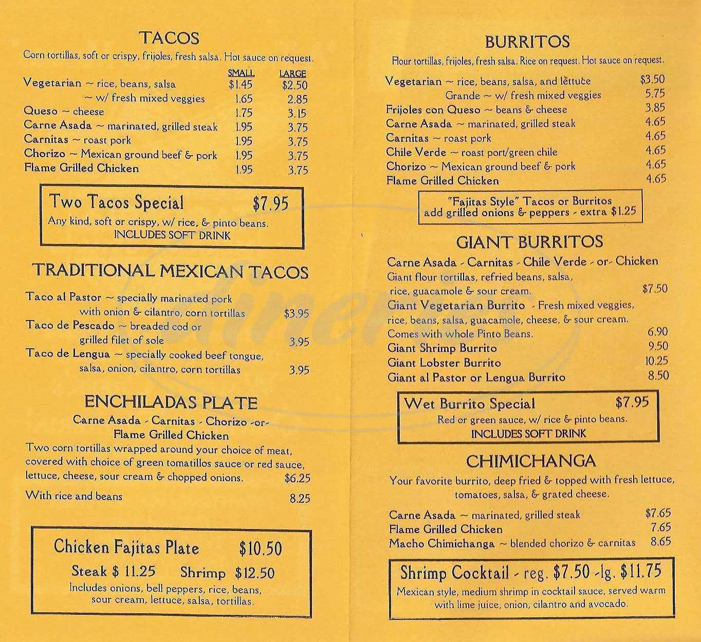 menu for Taqueria Mexican Grill