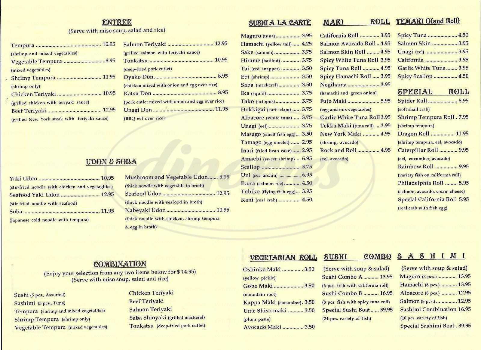 menu for Tokyo Lobby