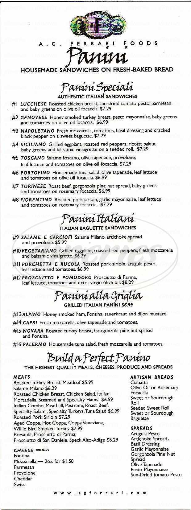 menu for A.G. Ferrari Foods