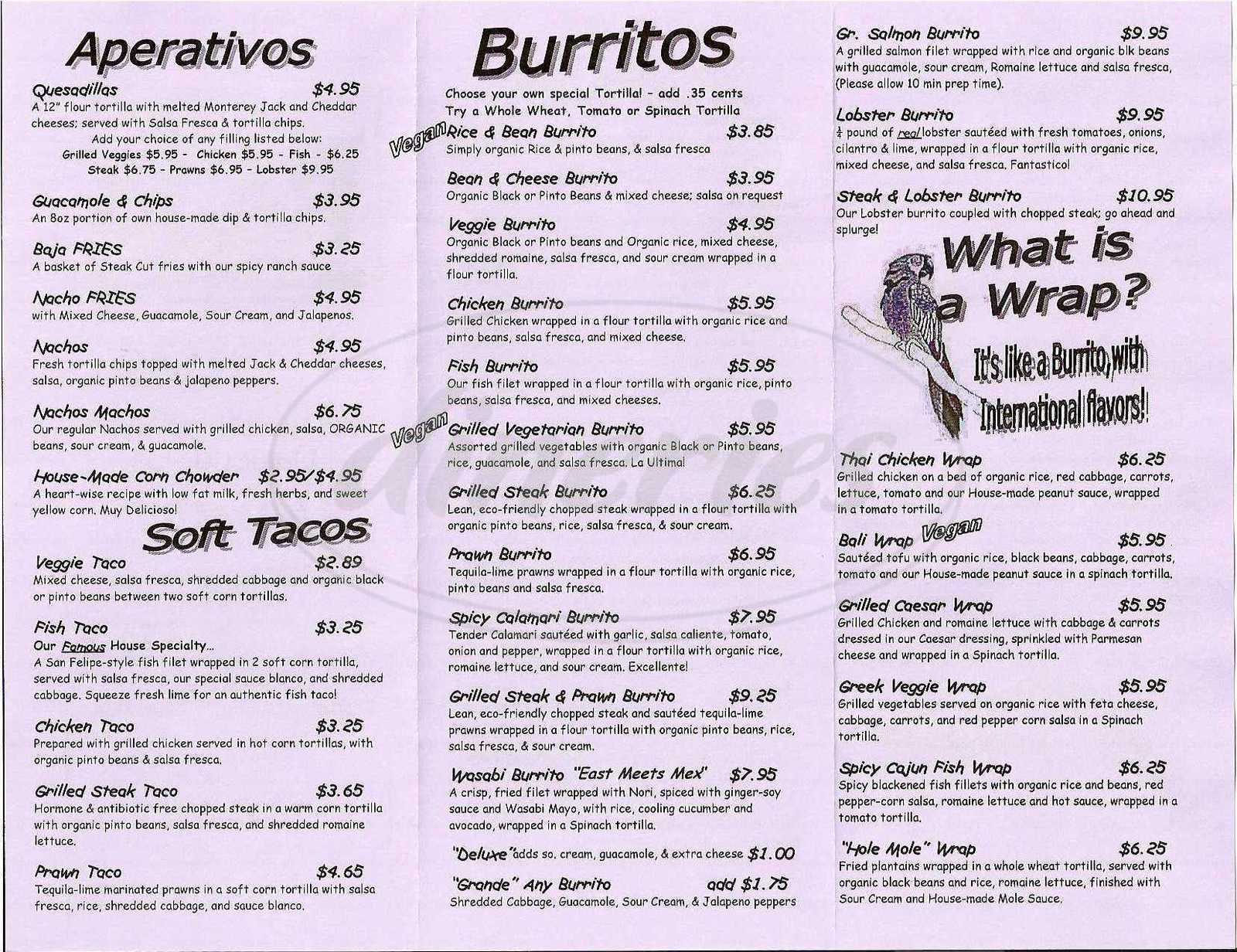 menu for Baja Taqueria