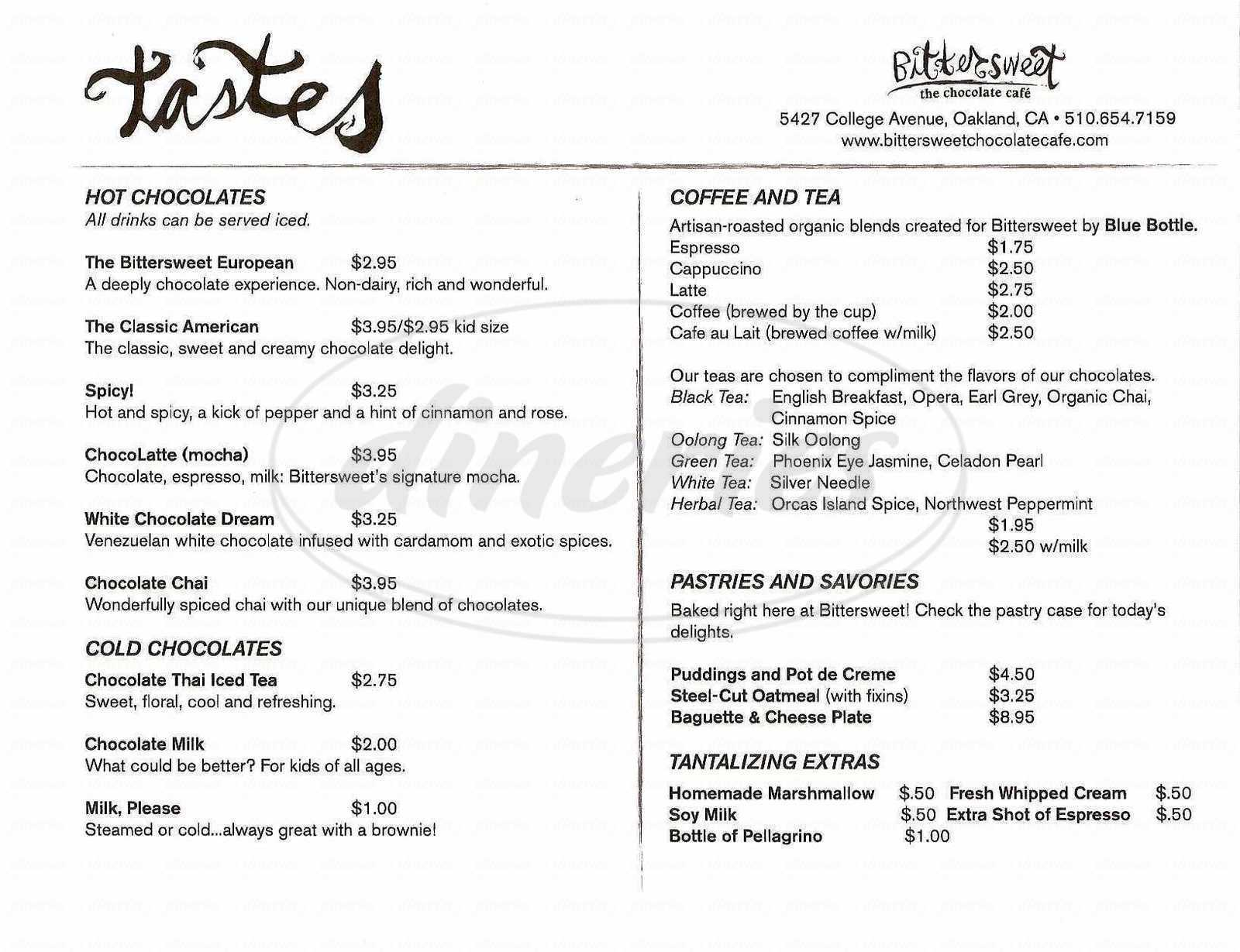 menu for Bittersweet