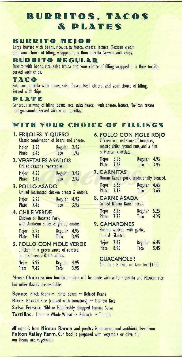 menu for Cactus Taqueria