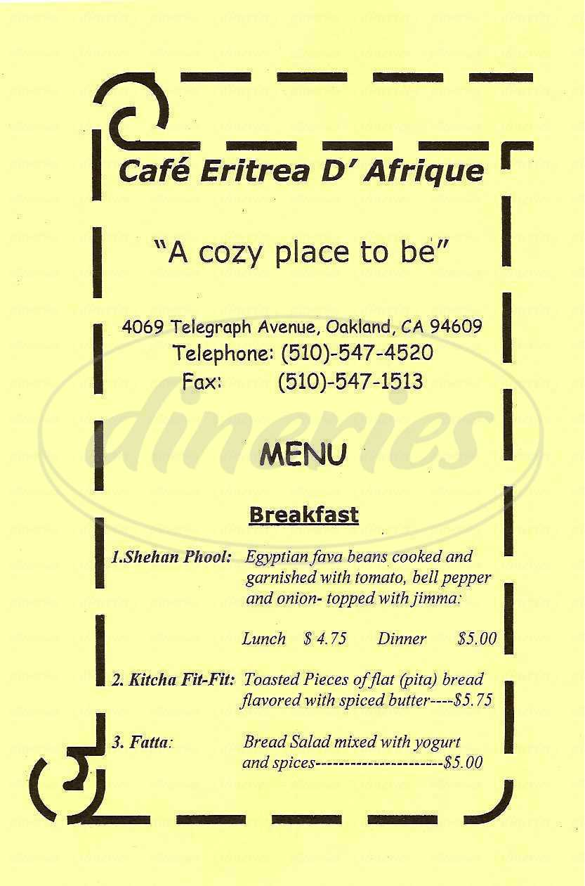 menu for Café Eritrea D'Afrique