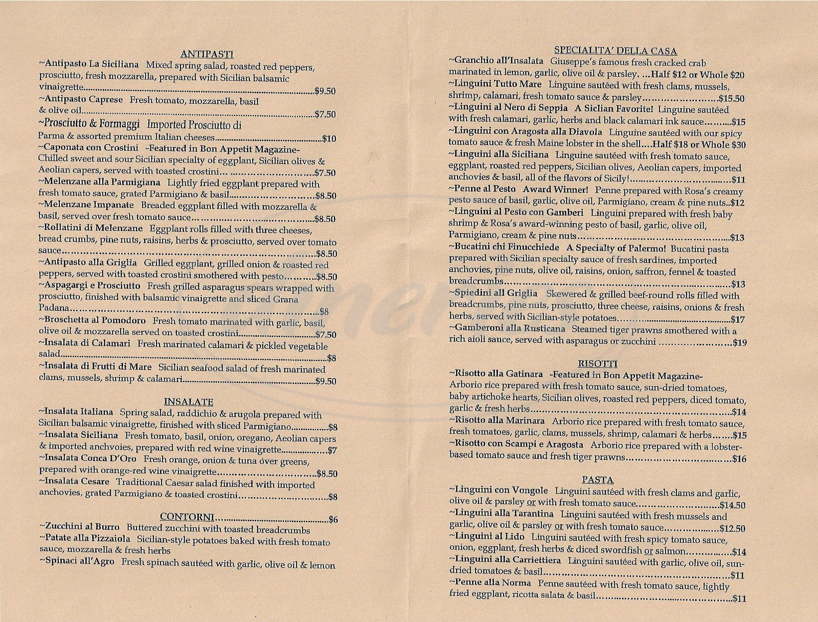 menu for Trattioria La Siciliana