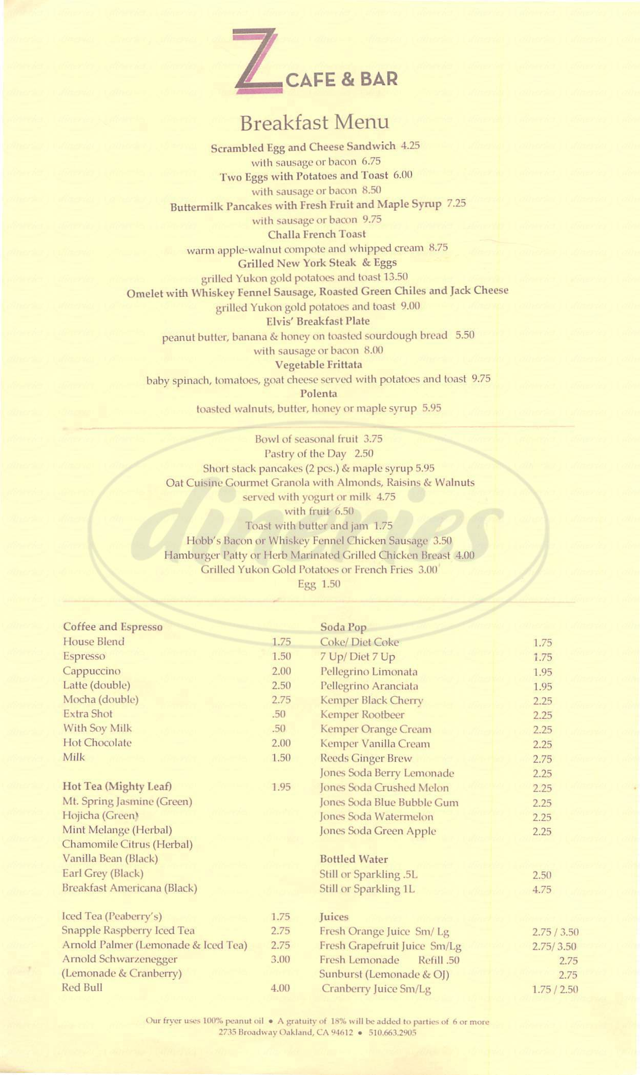 menu for Z Cafe & Bar