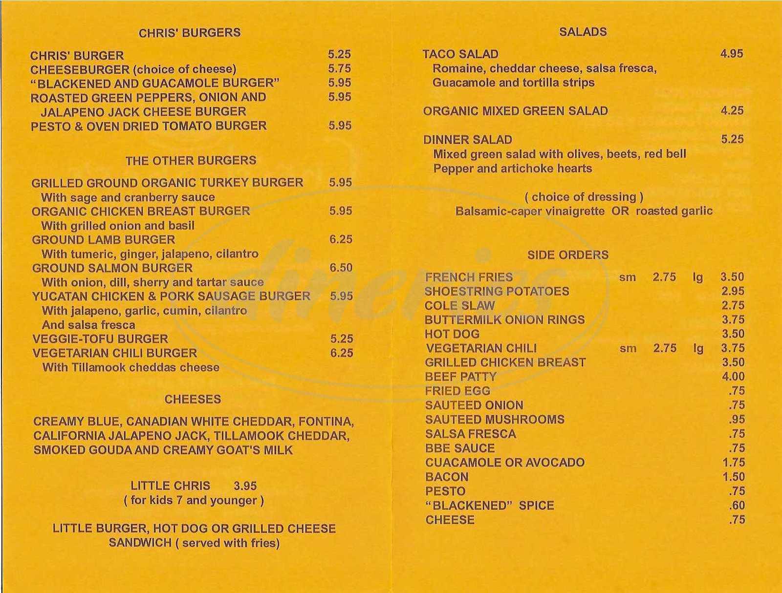 menu for Christopher's Burger