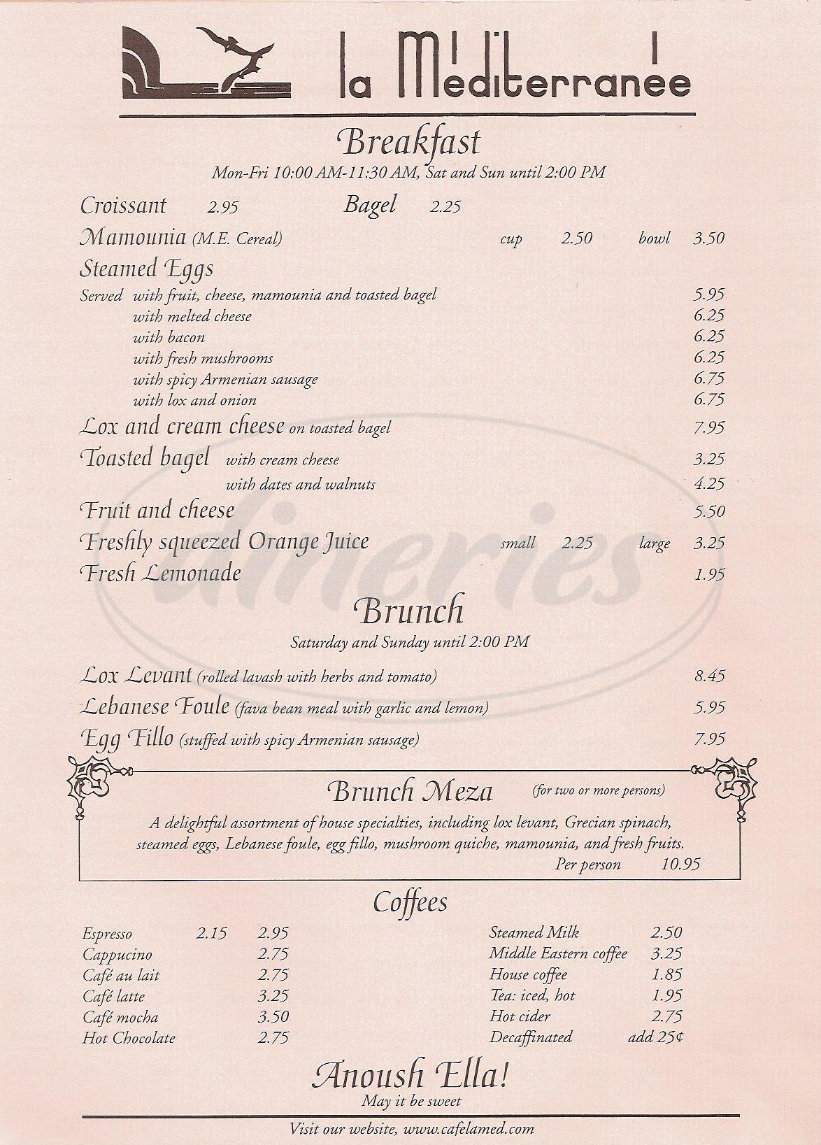 menu for La Mediterranee