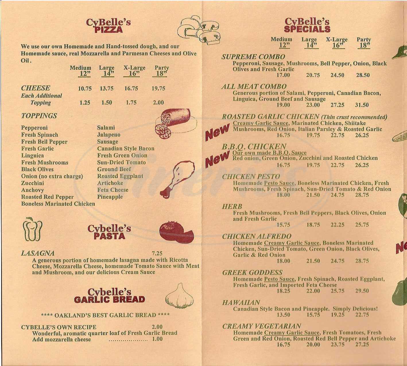 menu for Cybelles