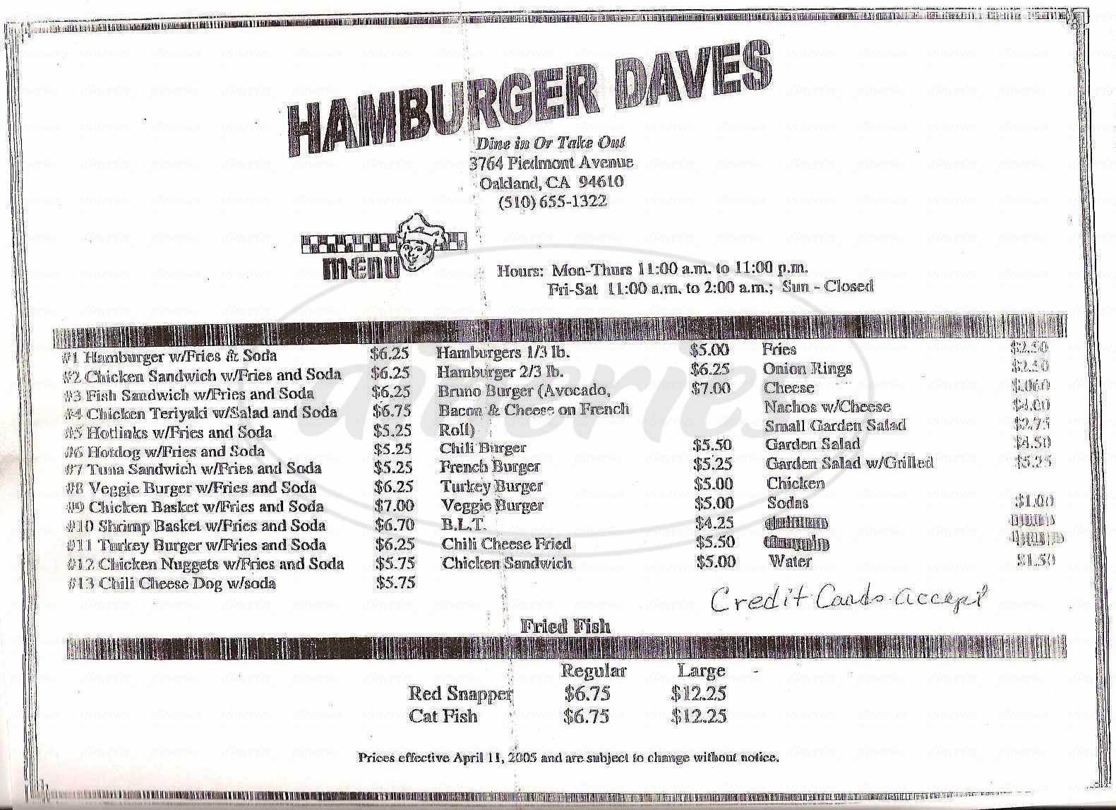menu for Dave's Hamburgers