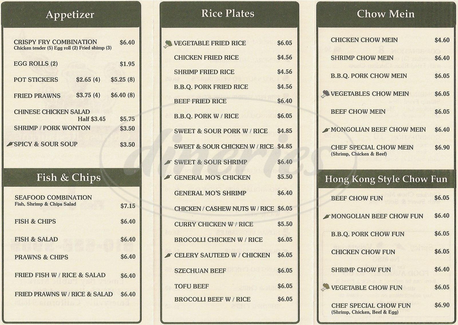 menu for Crispy Fry
