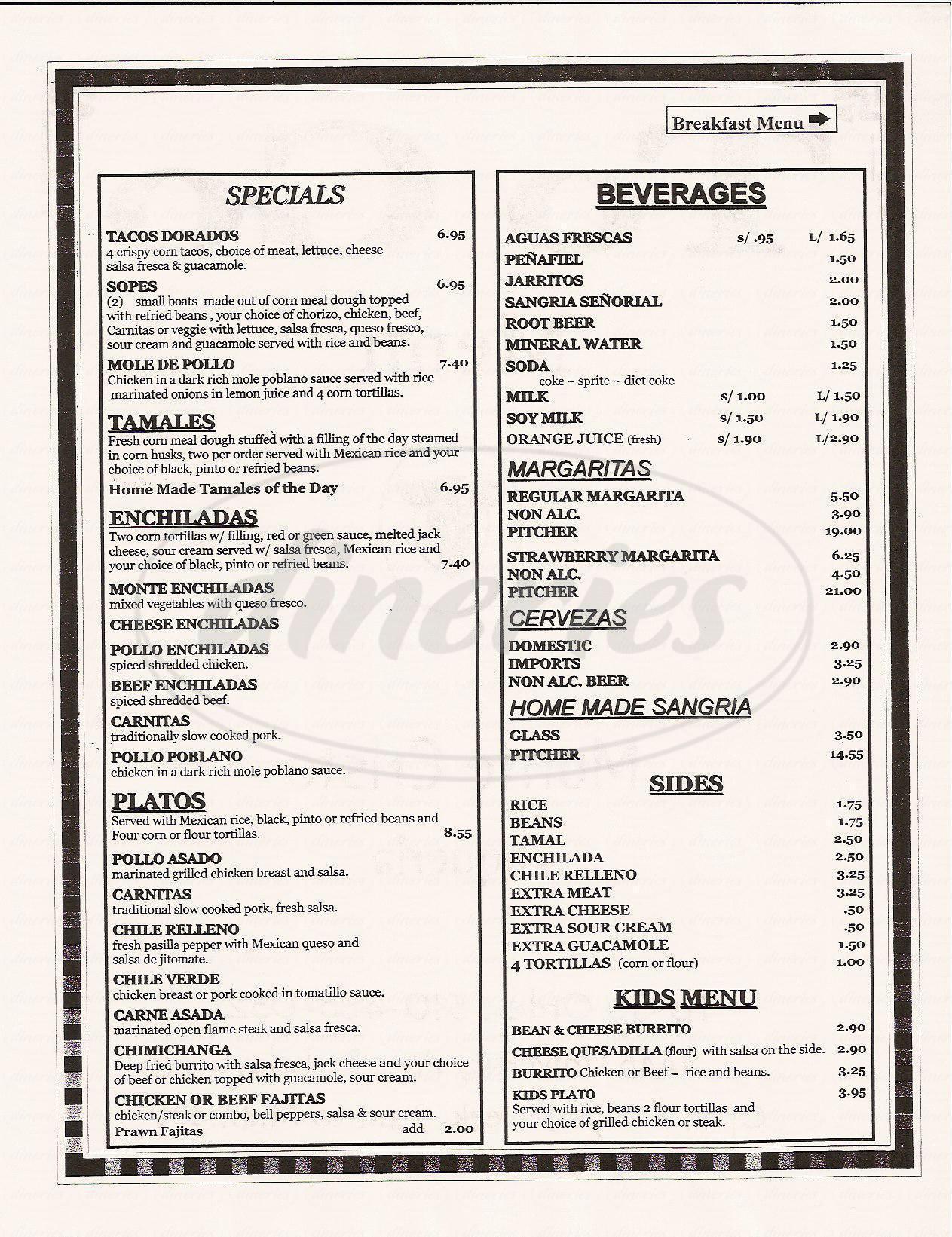 menu for Monte Cristo Taqueria