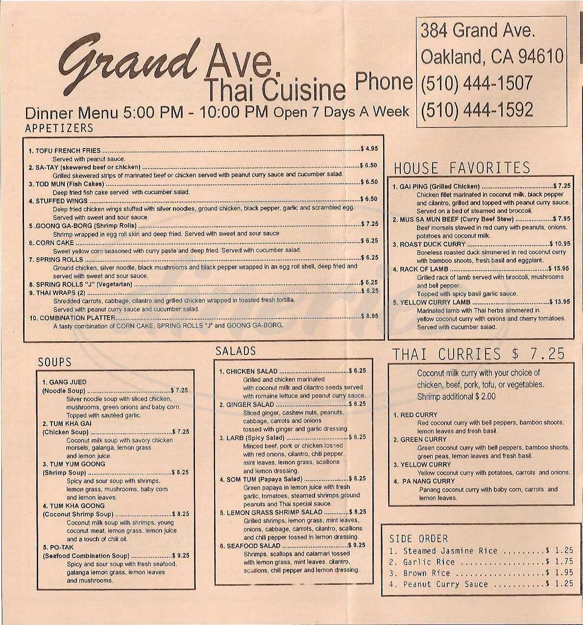 menu for Grand Avenue