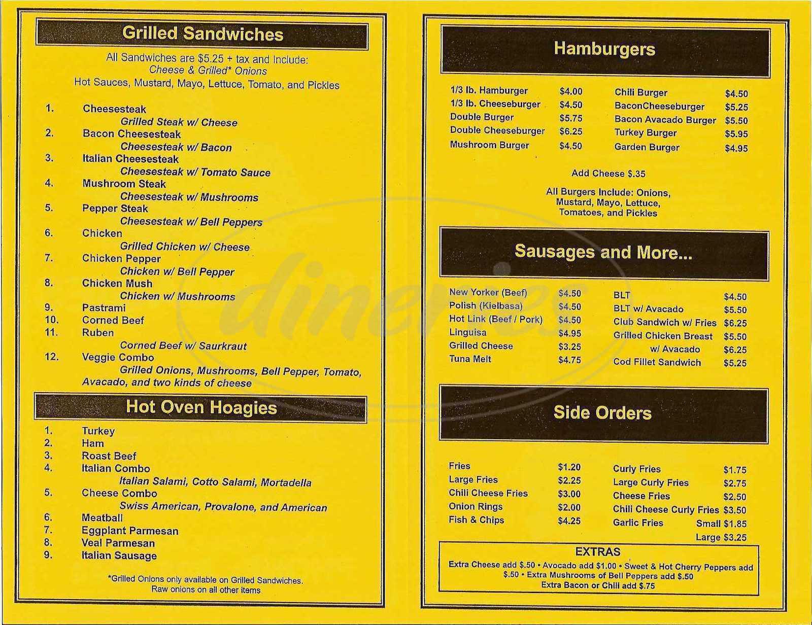 menu for I.B.'s Hoagies