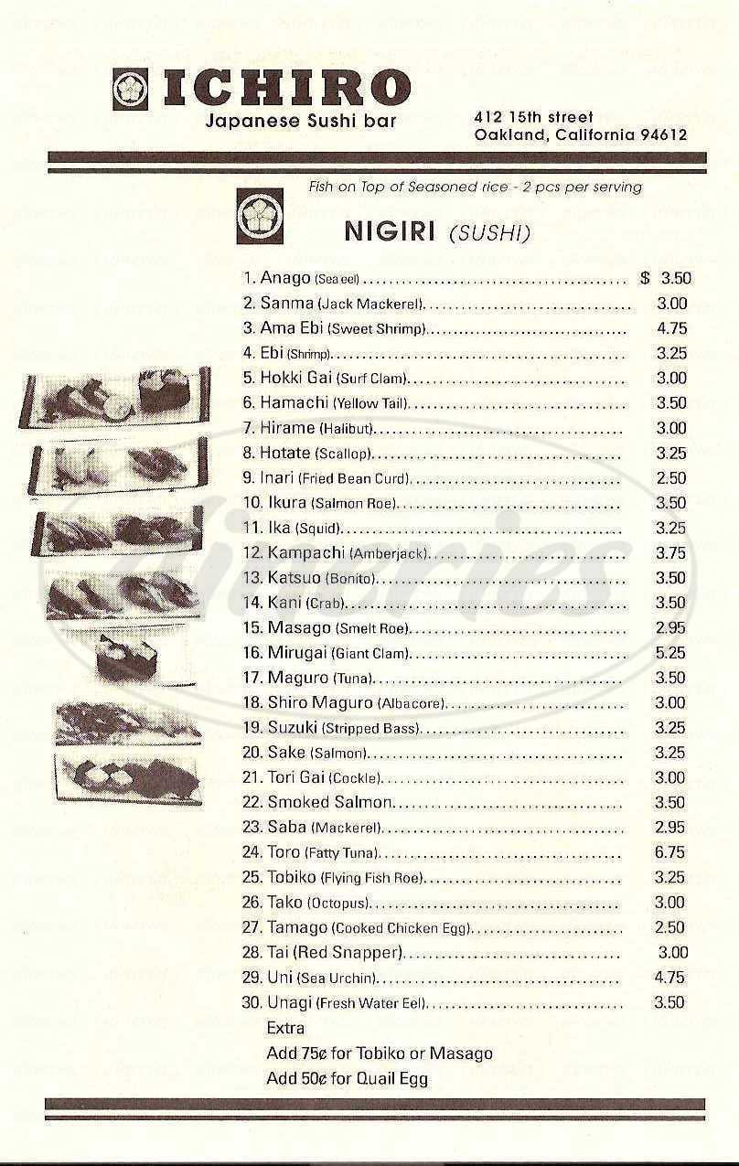 menu for Ichiro