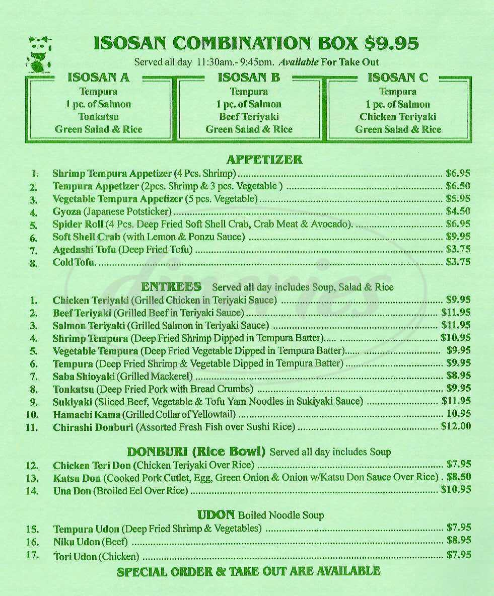 menu for Isobune Sushi