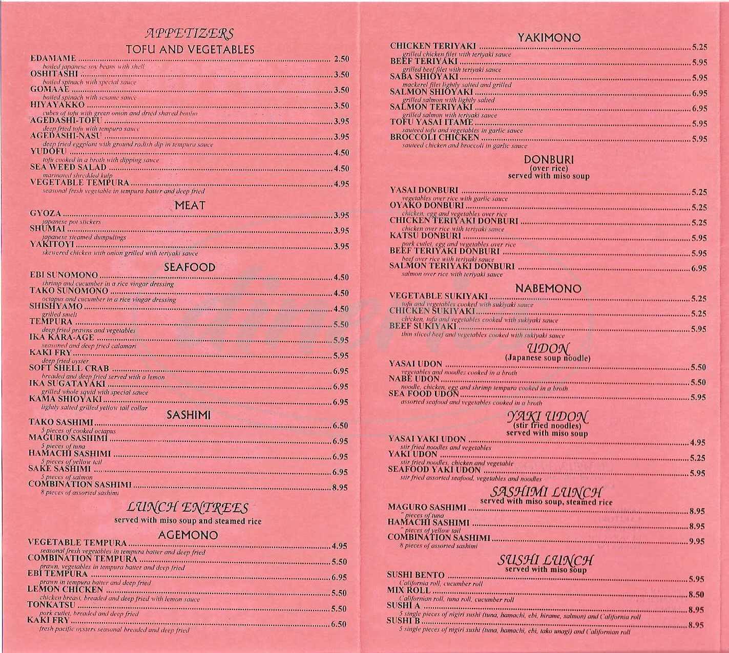 menu for Kotobuki