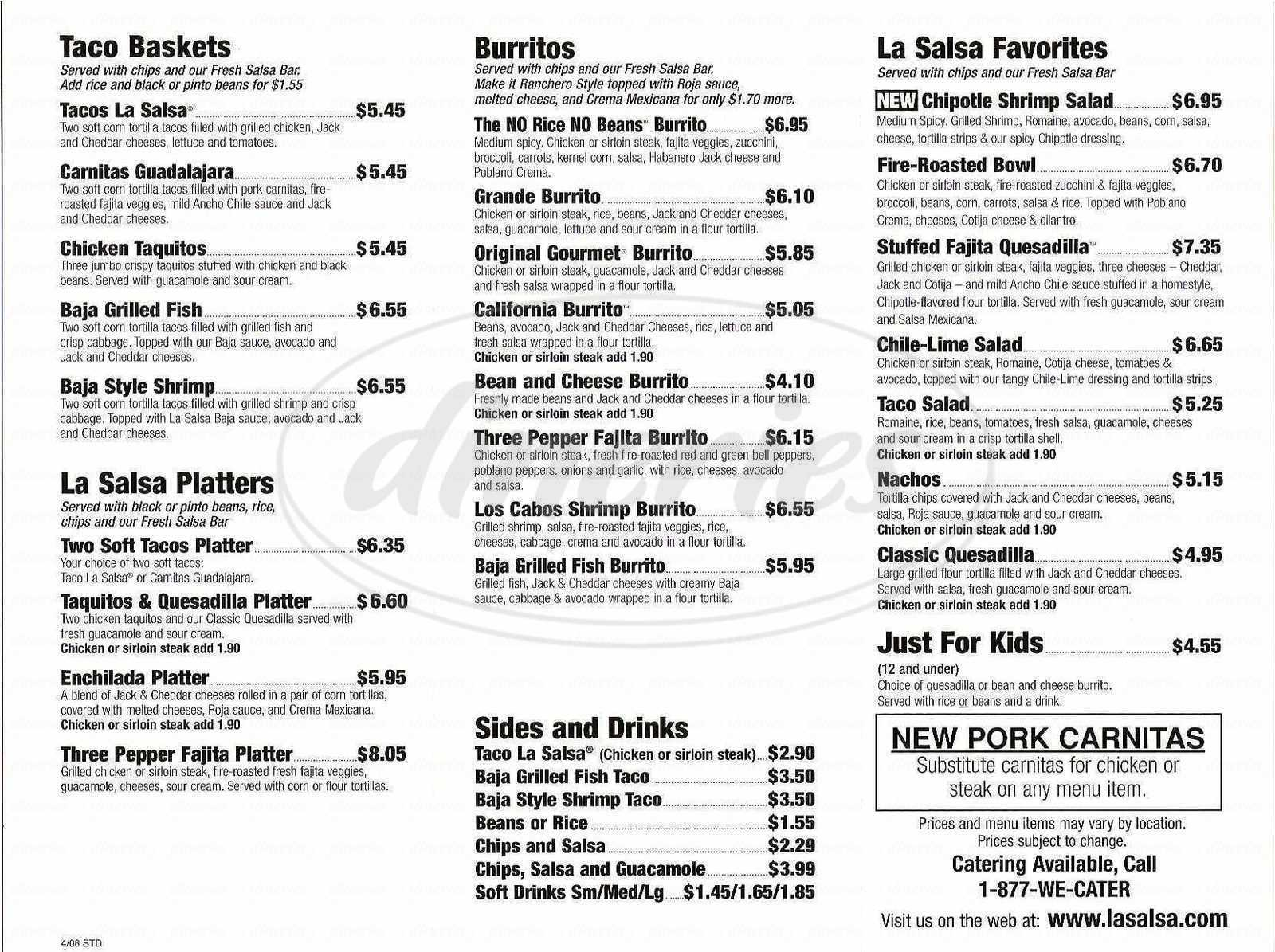 menu for La Salsa Fresh Mexican Grill