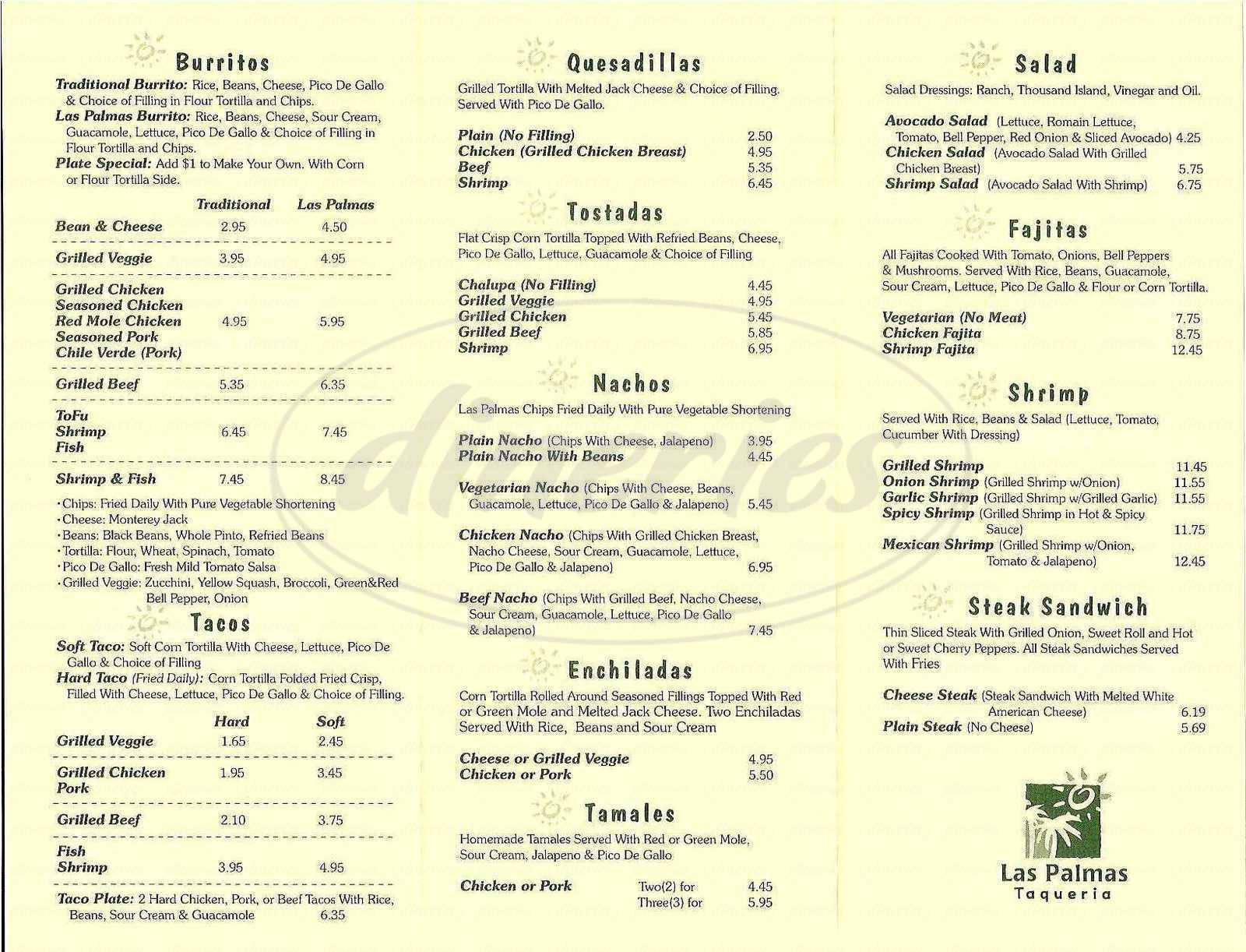 menu for Las Palmas