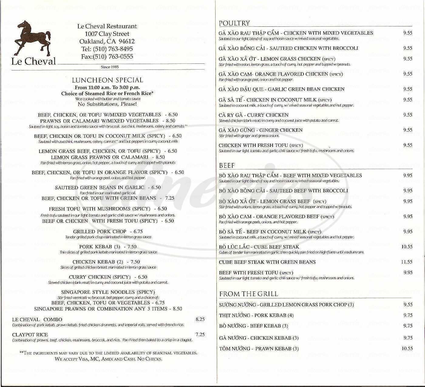 menu for Le Cheval