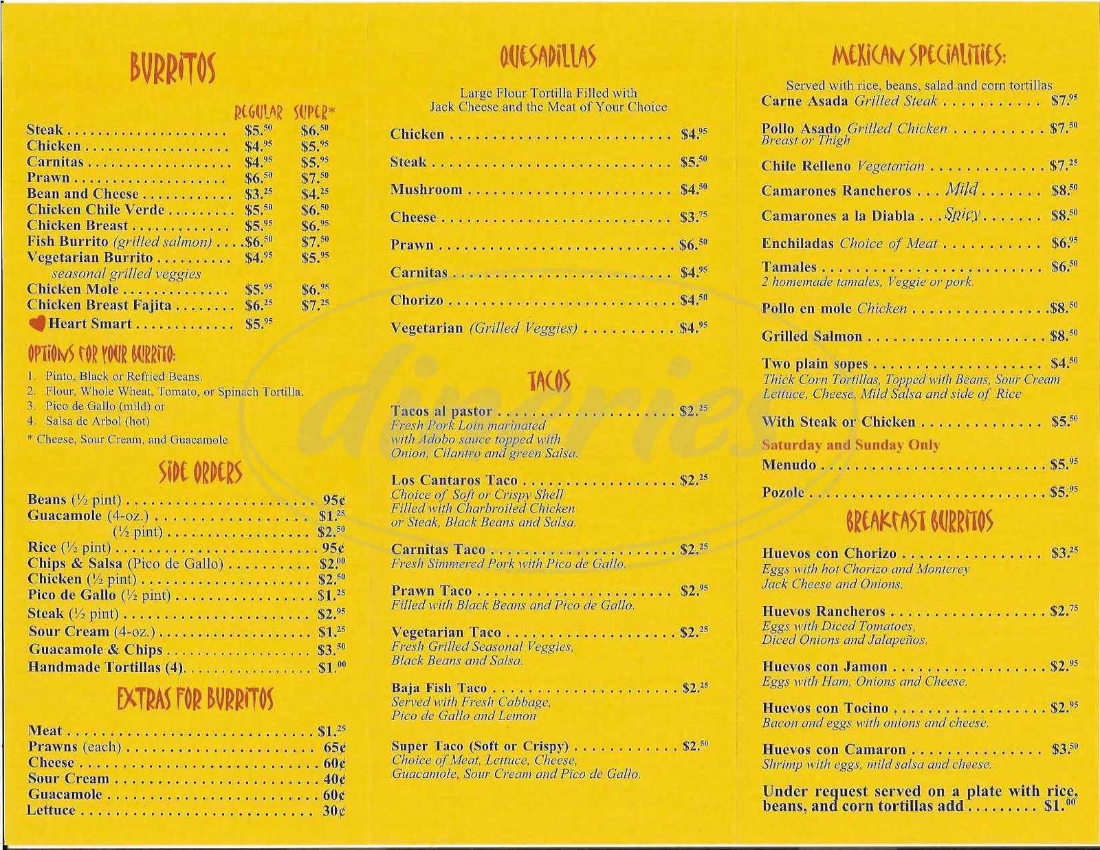 menu for Los Cantaros