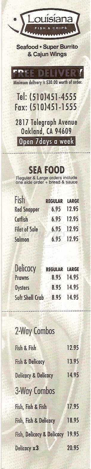 menu for Louisiana Fish & Chips