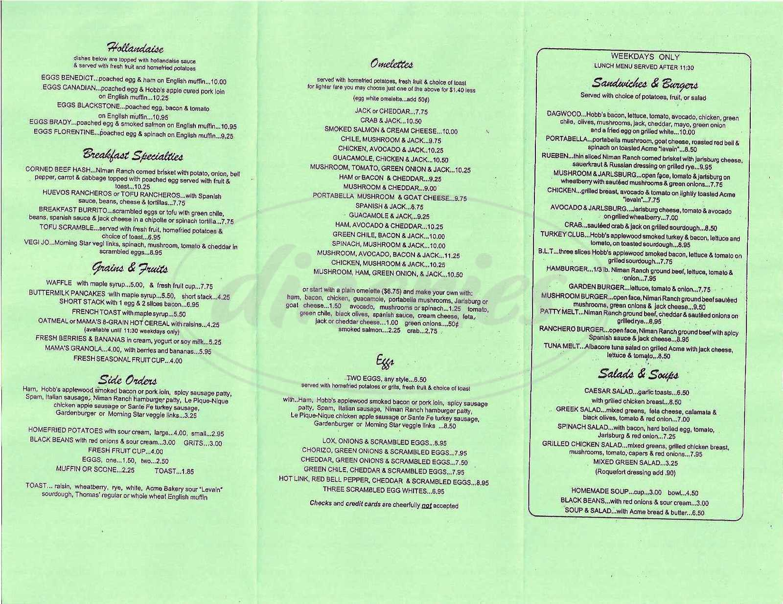 menu for Mama's Royal Café