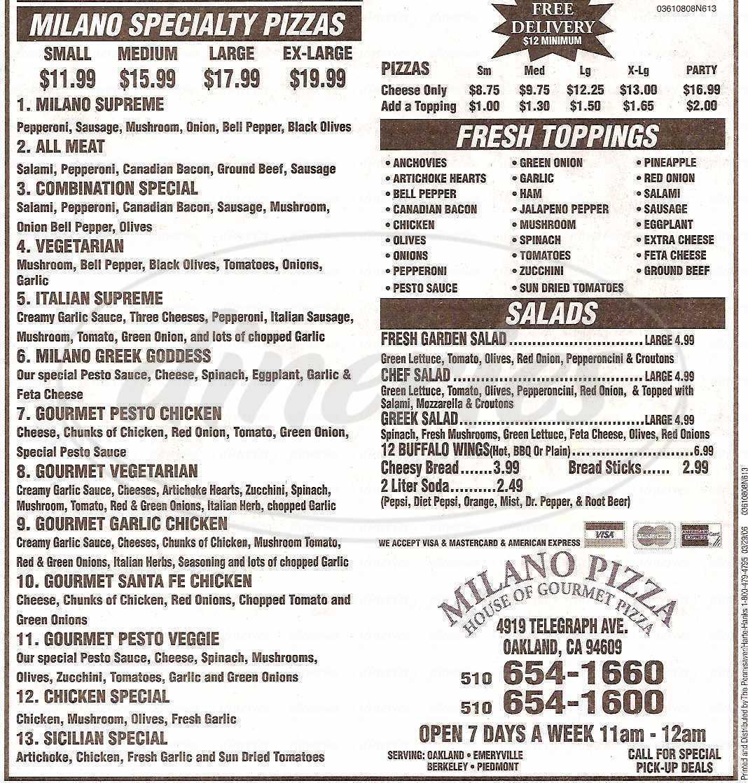 menu for Milano