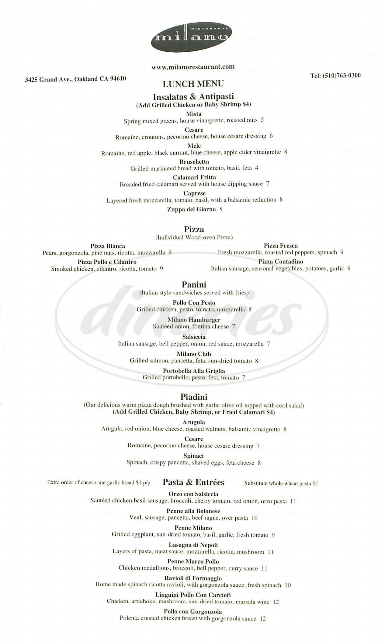 menu for Milano Ristorante