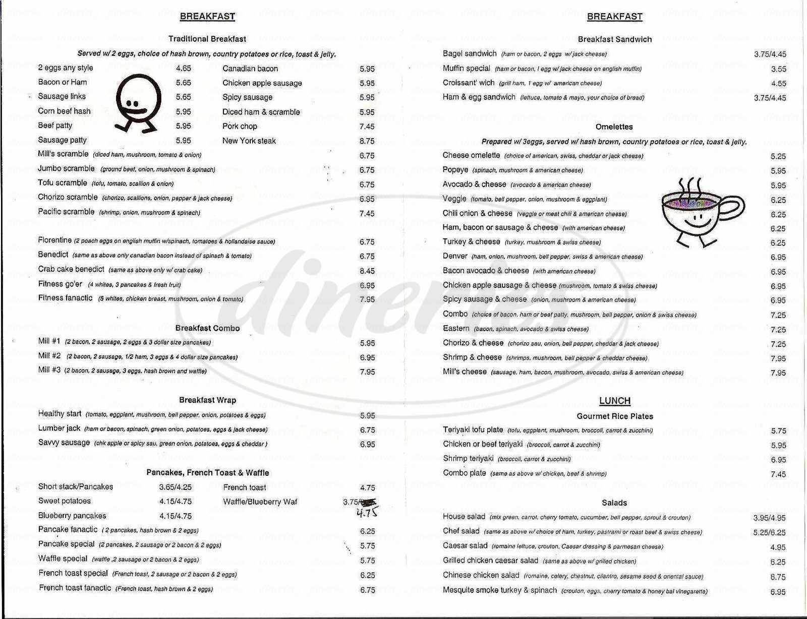 menu for Coffee Mill