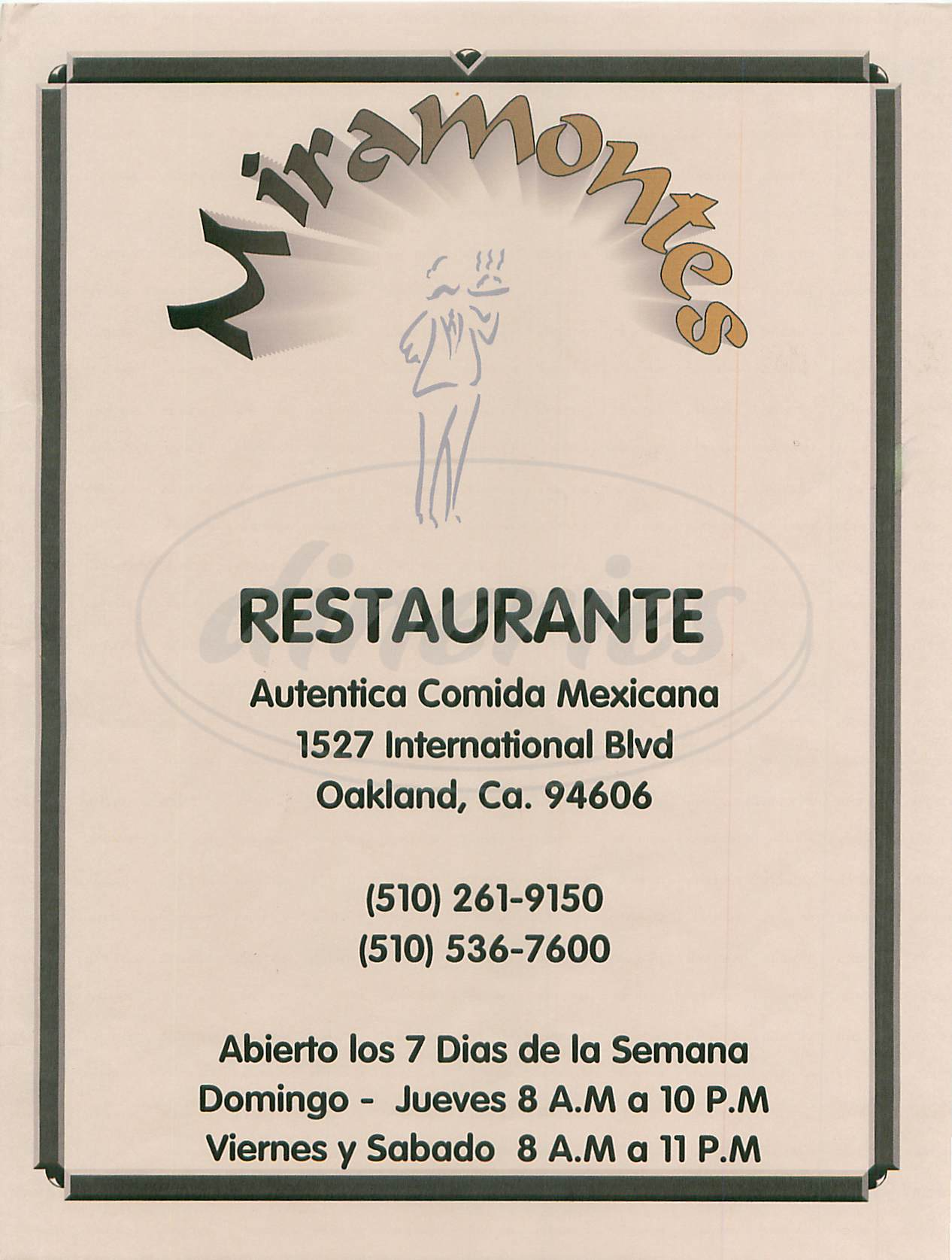 menu for Miramontes Restaurante