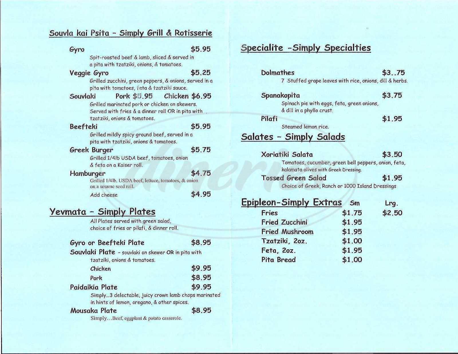 menu for Simply Greek