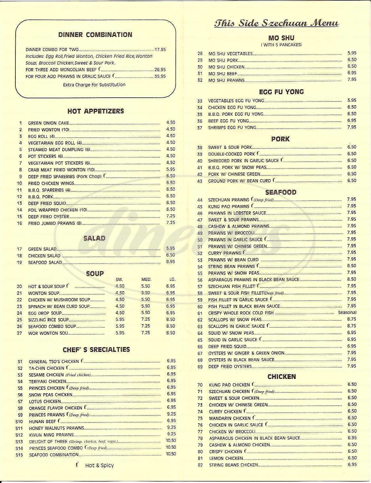 menu for Szechuan