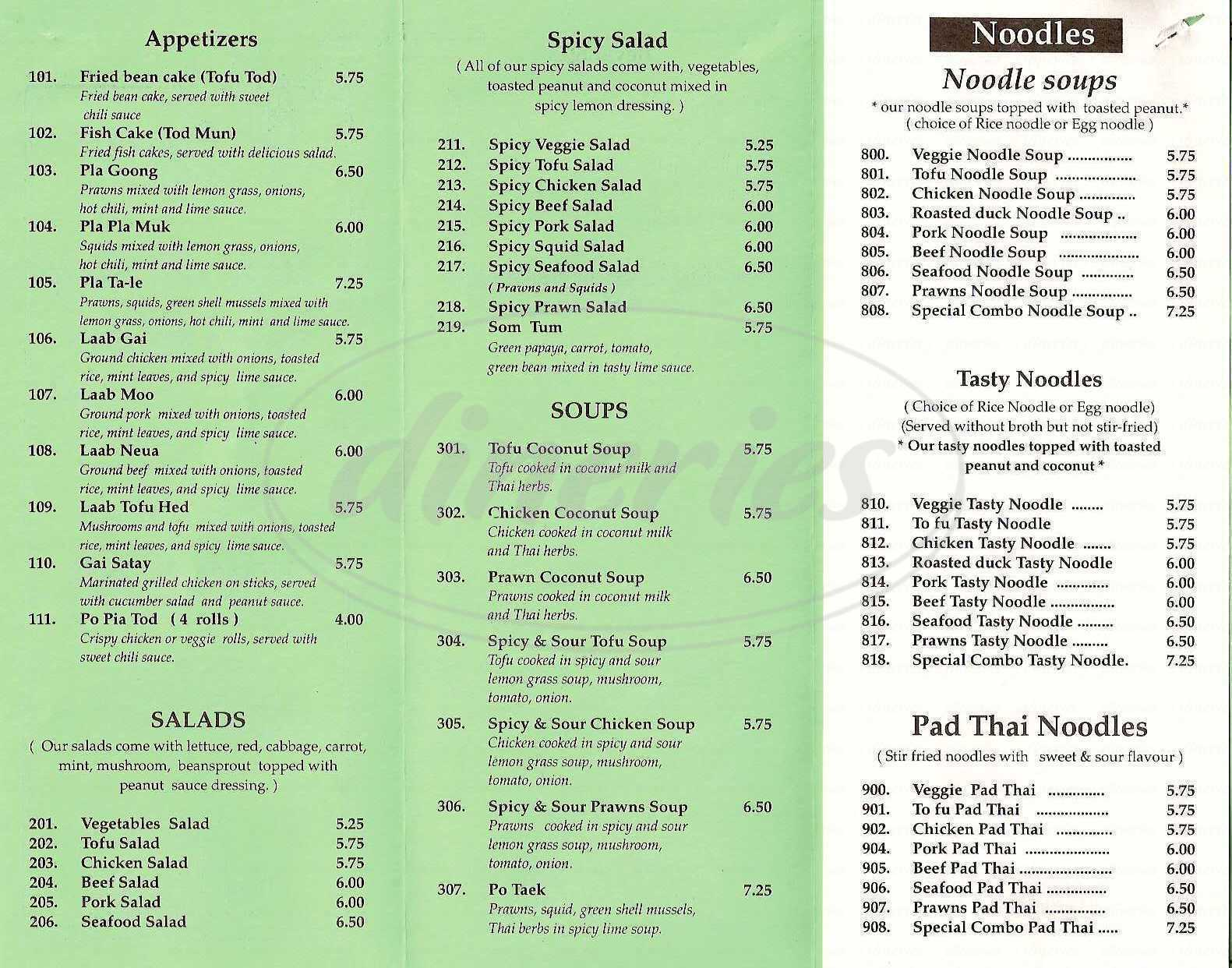 menu for Take It Easy