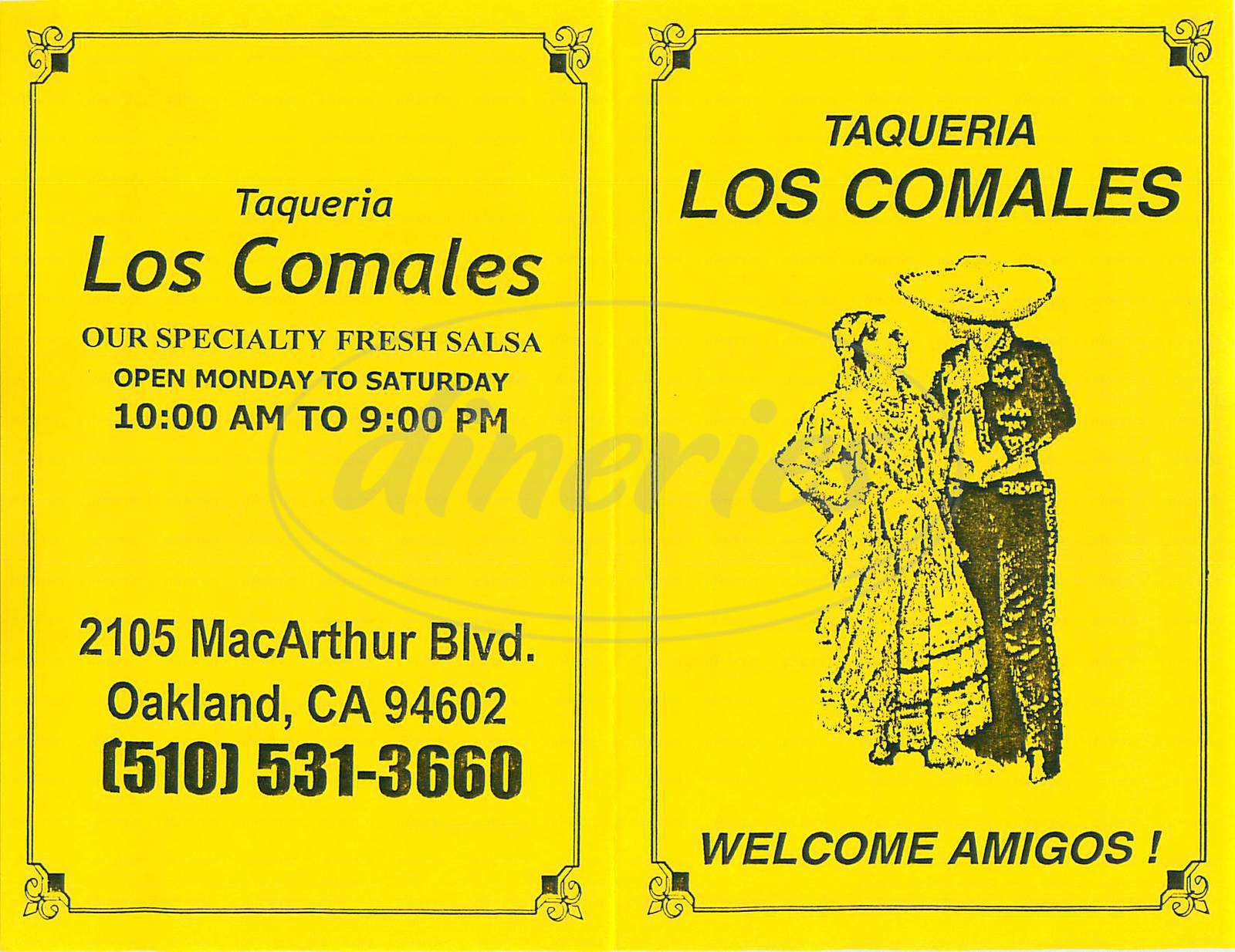 menu for Taqueria Los Comales
