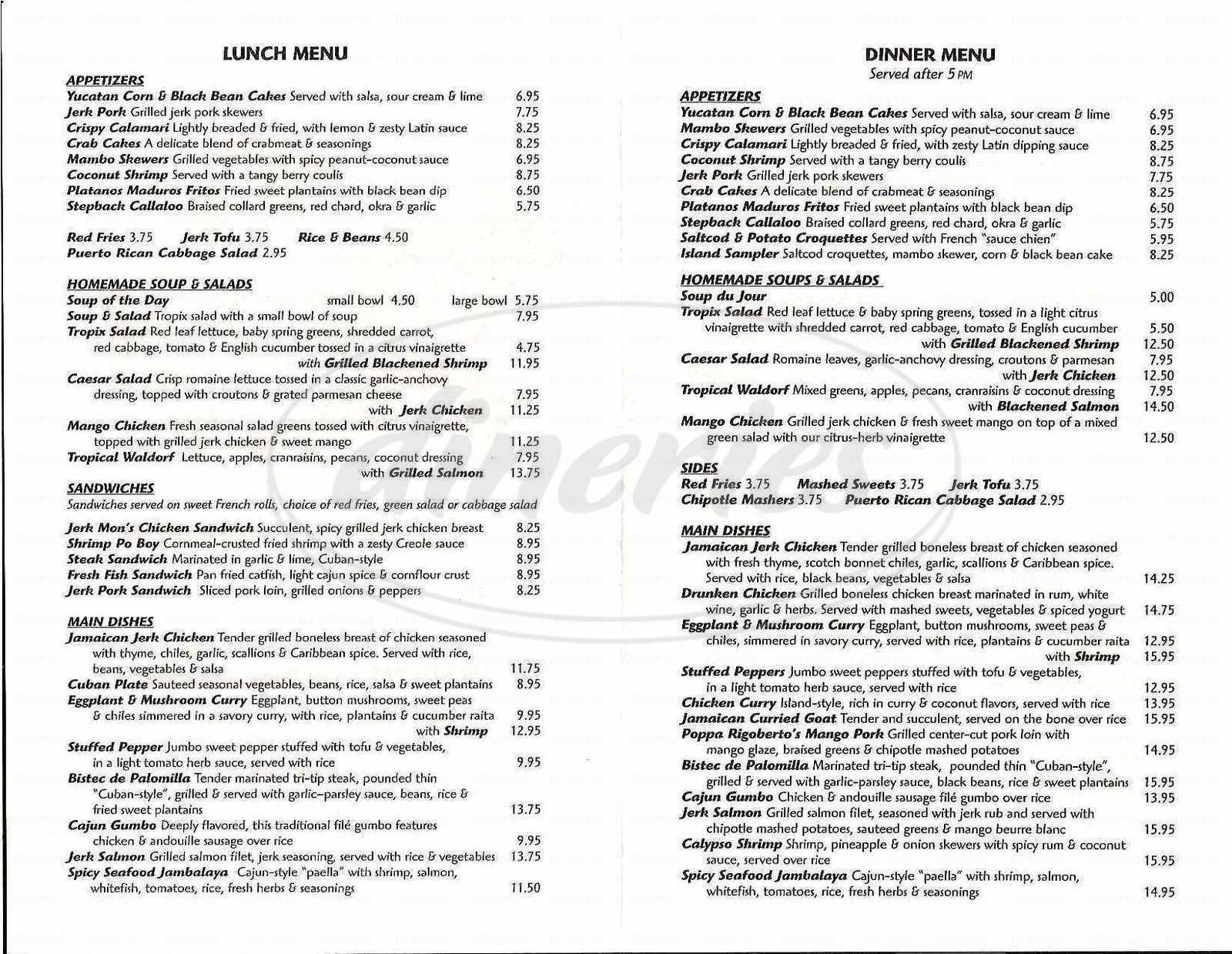 menu for Tropix
